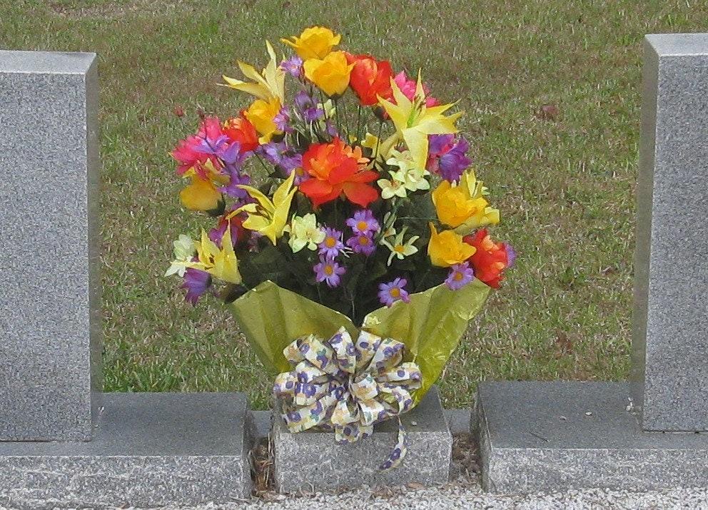 Silk Cemetery Flowers-Made To Order Silk Grave Flower Pot-Cemetery Arrangement-Memorial Flower-Grave Memorial-Silk Grave Pot-Funeral Flowers & Silk Cemetery Flowers-Made To Order Silk Grave Flower Pot-Cemetery ...