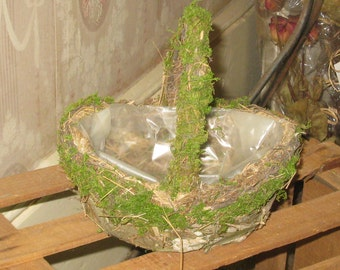 Moss Basket - Natural Moss Covered Basket - Rustic Craft Supply - Flower Container - Bark Floral Basket - Woodsy Country DIY Home Decor