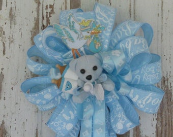Birth Announcement Ribbon Bow - Gender Reveal - New BabyRibbon - Nursery Decor - Hospital Room Bow - Baby Shower Decoration - New Baby Gift