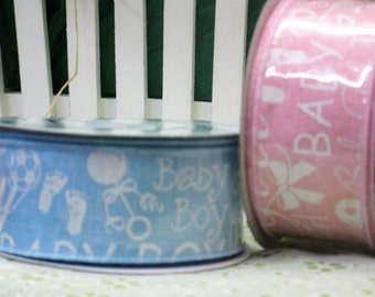 Baby Ribbon - Baby Shower Decor - Congratulations New Baby - Welcome Baby - Pink or Blue Wired Polyester Ribbon - Baby Decoration - New Baby