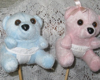 Baby Novelty Picks - Plush Baby Bear Picks - Pink and Blue Bears - Baby Shower Decoration - New Baby Gift - DIY Baby Craft