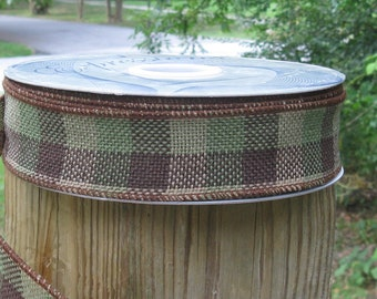 Wired Burlap Ribbon-1 1/2 Inch Wide-Hair BowTrim-DIY Craft Supply-Floral Supply-Rustic Home and Hearth Decor-Brown, Gold, Green Shades