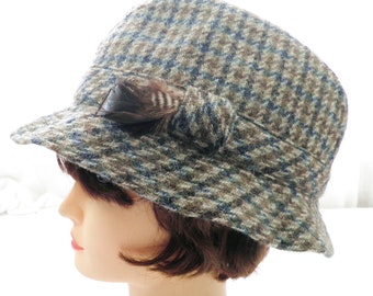 4e9da59d527f9 1970s Harris Tweed Check Trilby Wool Hat Made in Britain Size L To Fit Head  up to 23 inch   58 cm Country Sports Fishing