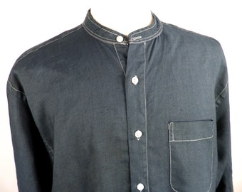 a8fec418b517f Indigo Blue Linen Long Grandad Shirt by Tom Tailor Size XL Collarless  Classic Art Cool