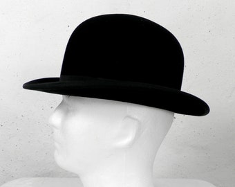 fef765deadb Vintage Rigid Black Felt Bowler Hat by Falcon Hat Size 21.5 inches Highest  Quality 1950s Inner Leather Band and Lined Country Hunting City