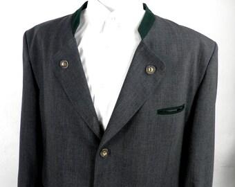 1960s Dark Grey Bavarian Trachten Wool Jacket with Green Felt Trim by Alphorn Original  Size 4XL Classic Boho
