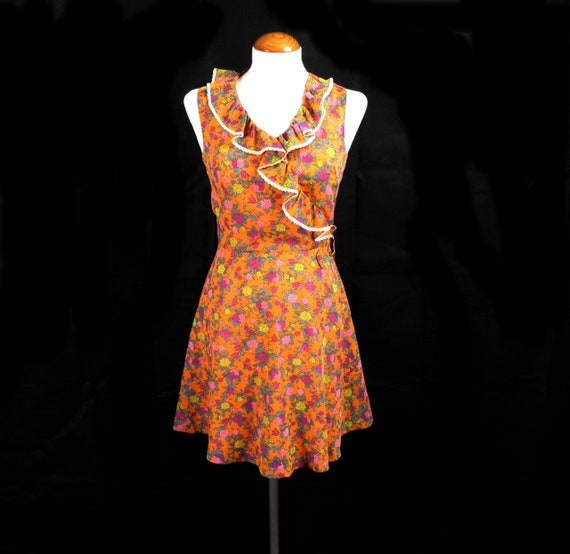 1960s Dollyrockers Iconic Bright Orange Floral Nyl