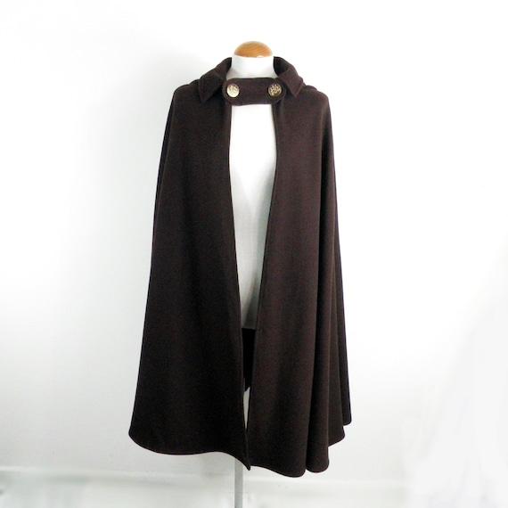 1970s Dark Brown Trachten Wool  Cape / Cloak with
