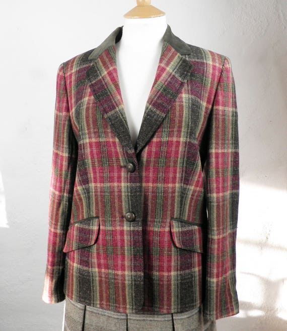 c0a9e79f00 Wool and Silk Tweedy Plaid   Check Vintage Jacket with Velvet