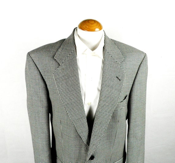1980s Black and White Dogtooth Check Tweed Wool Ta