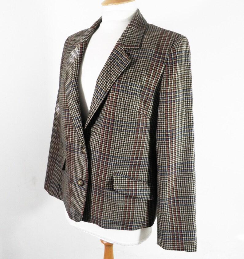 47c28868be Vintage Equorian Pure Wool English Ladies Plaid Check Jacket