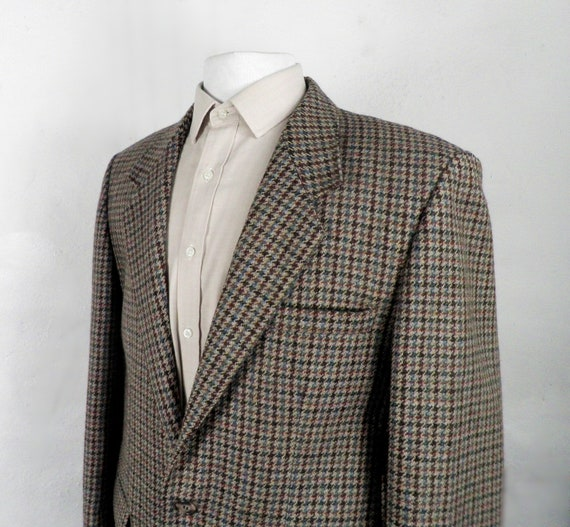 1970s Brown Blue and Mustard Dogtooth Check Tweed
