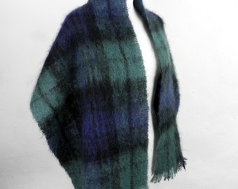 Vintage Dark Green Navy and Black Tartan Plaid Mohair Wool Fringed Shawl or Wrap Traditional 1960s