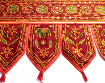 Vintage Indian Door Hanging with Mirrorwork And Embroidered Elephants Leaves and Flowers