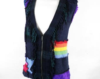 Distressed Patchwork Long Multi Colour and Texture Waistcoat  Size S / M  Boho Hippy Rainbow Punk