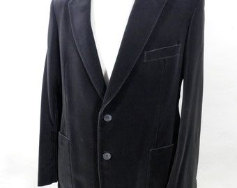 1970s Dark Grey Cotton Velvet Jacket   Size L / XL