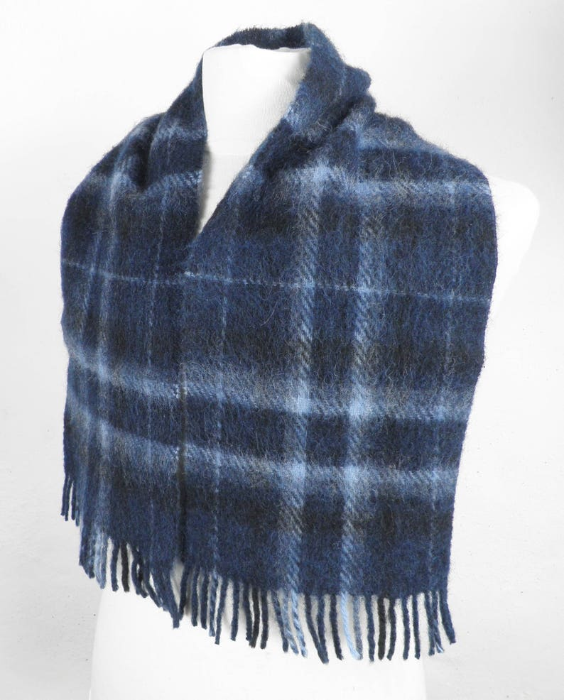 1c3802bc37e Blues and Black Brushed Wool Scarf Classic Traditional Mens Winter Gift