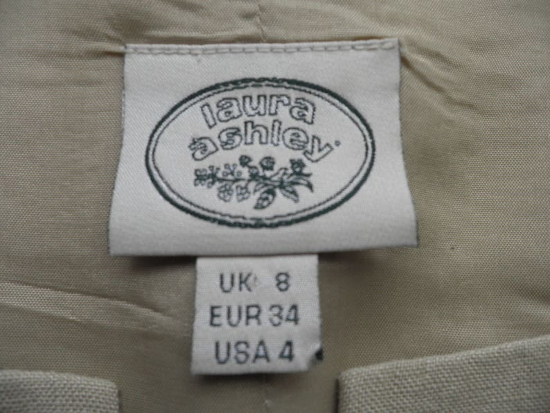 Vintage Laura Ashley Sand Coloured Fitted Linen Top   Size XS   Boho Classic