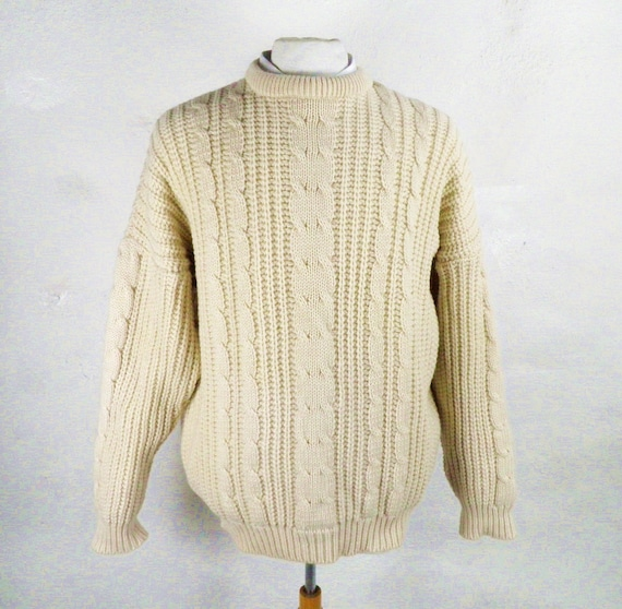 1980s Natural Cream Chunky Knit Cable Knit Aran Wo