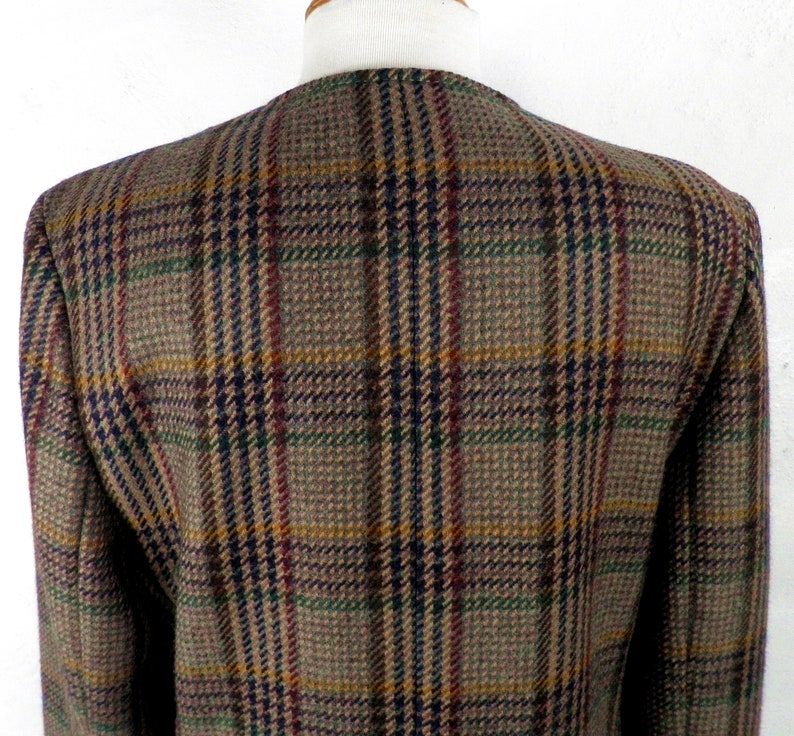 Irish Tweed Brown Red Navy and Green Plaid Collarless Wool Jacket by Stitchers  Made in Ireland  Size UK 12 Classic Traditional