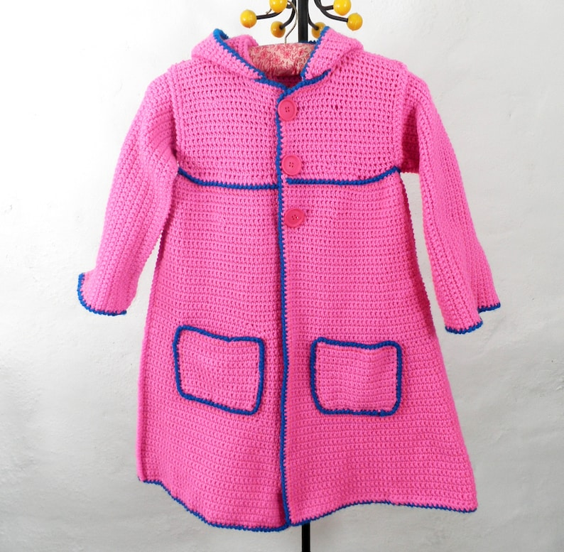 710f817c83ce6 Vintage Pink Girls Hand Crocheted Wool Hoodie Coat Chest 28