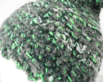 Green Woodland Pixie Elf Crochet Hat  Size S - M