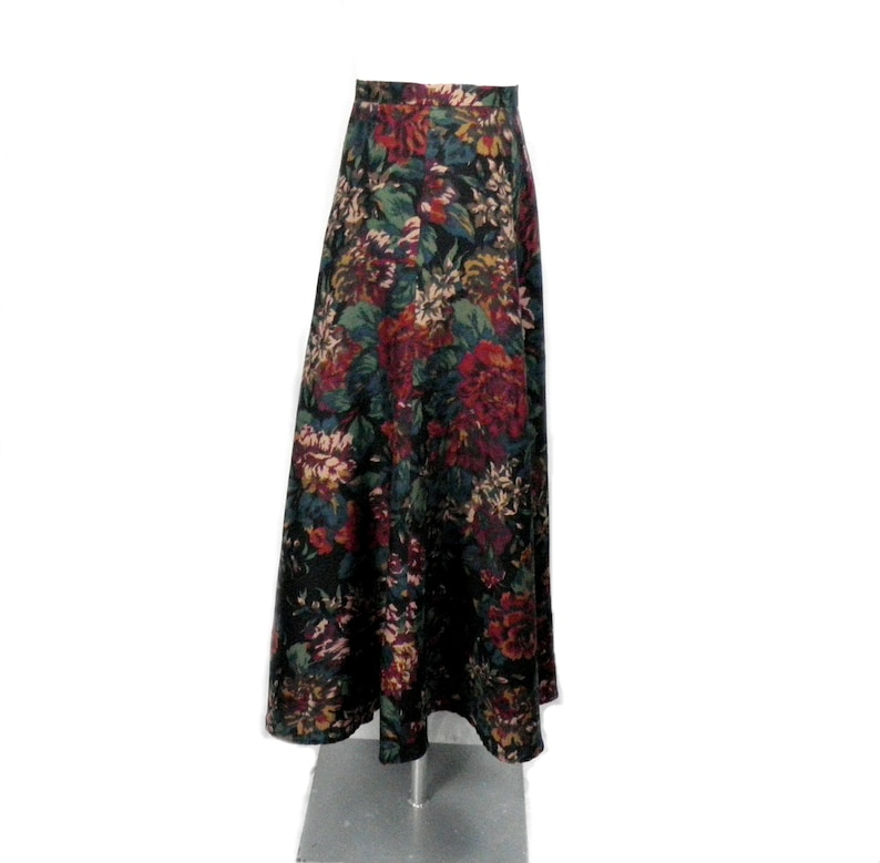 1980s Liberty Varuna Wool New Roses and Foliage Floral  Bias Cut 3  4 Circle Skirt by Charles Gray Size S UK 8-10 Made in England