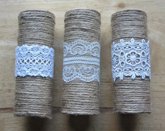 Bouquet handle holder (jute/hessian twine and lace)