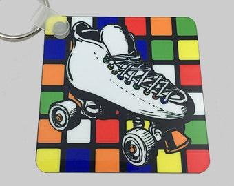 80s Keychain Retro Square Keychain - 80s Rollerskating - Rubiks Cube Keychain With Rollerskate - 80s Accessory - 80s Key Holder - 80s Gift