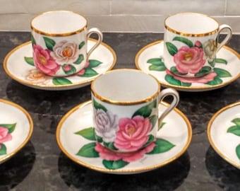 Vintage Copeland Spode Demitasse Cups and Saucers ~ Camellia Japonica ~ Artist Signed