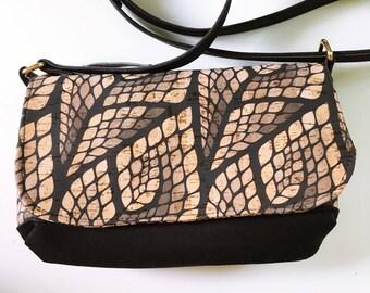 Olivia Crossbody, small cross body purse, small bag, small purse, cork bag, cork purse, cork crossbody, cork cross body, black purse, vegan