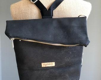 Convertible backpack, crossbody bag, backpack, cork convertible bag, large convertible bag, large crossbody bag, foldover bag, black cork ba