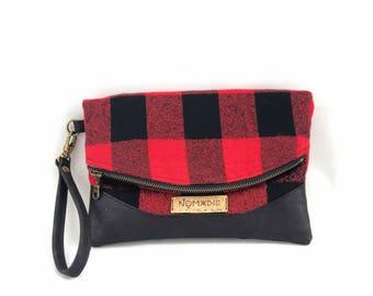 Hazel foldover clutch, small clutch bag, wristlet, foldover bag, buffalo plaid clutch, buffalo plaid bag