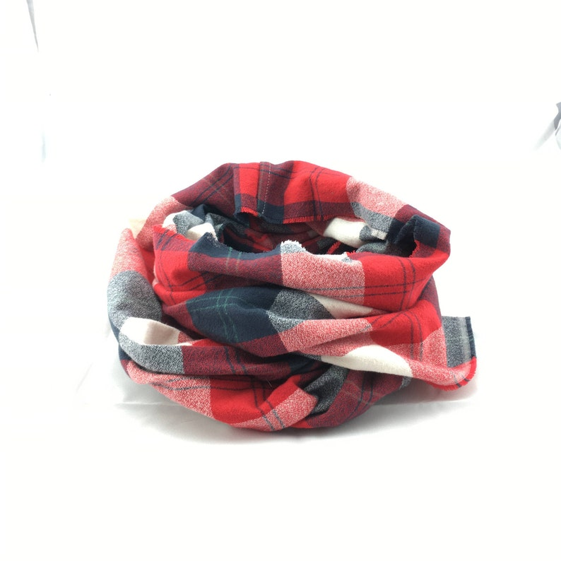 Americana Flannel infinity scarf red and navy plaid scarf image 0