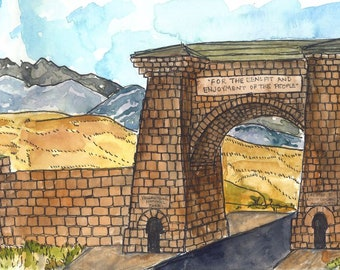 Print of Roosevelt Arch, Yellowstone National Park