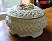 Vintage Large Porcelain Trinket Box, Reticulated Capo Di Monte Style White Round Multi-Purpose Pink Roses Lidded Dresser Vanity Trinket Box