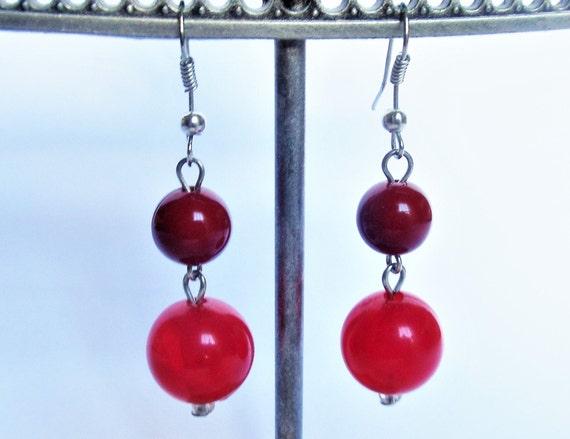 Earrings Dangles Beaded Red Silver Tone Metal