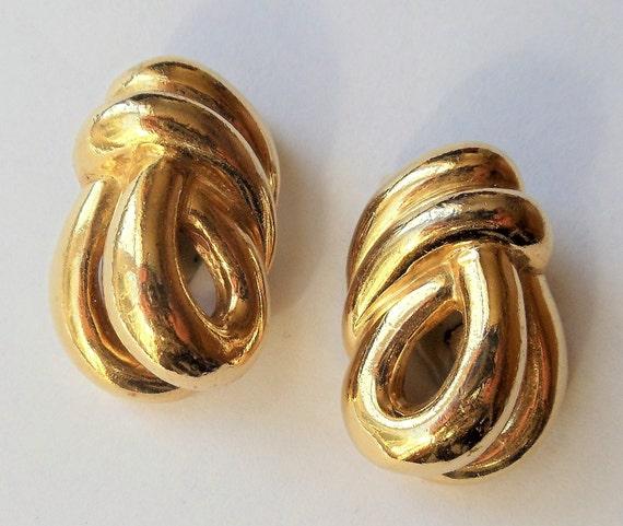 Vintage Ciner Knot Earrings, Gold Plated Runway Kn
