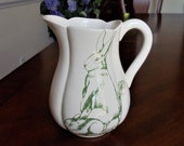 Bunny Toile Pitcher by Jay Willfred , Vintage Green Rabbits & Vegetables Large Ceramic Pitcher, Classic Children's Book Illustrations Decor