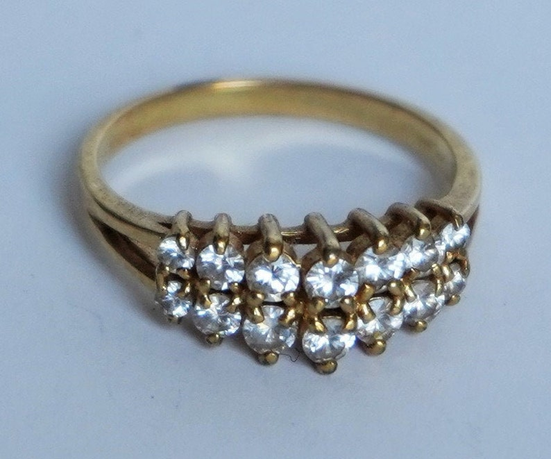 Vintage Gold Plated Multi Stones Cubic Zirconia Gold Plated Sparkling Promise Ring Cocktail Ring CZ Ring Size 9 Elegant Valentine/'s Gift