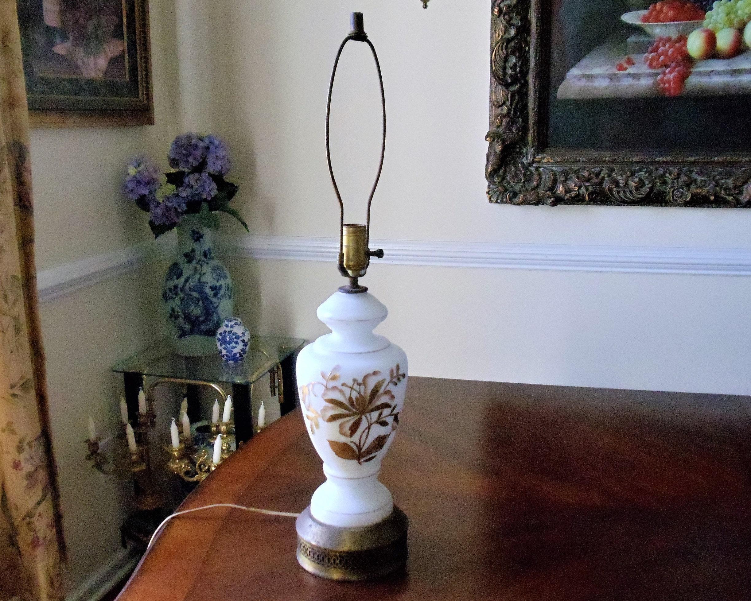 Vintage Mid-Century Leviton Table Lamp Milk Glass Handpainted