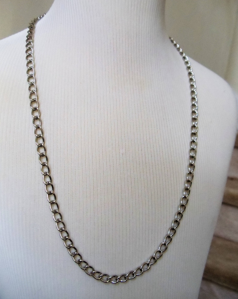 Long Strong Wide Shiny Silver Tone Curb Link Chain Men Women Unisex Chain Vintage Men Stainless Steel Chain Necklace Gift For Him 1990s/'