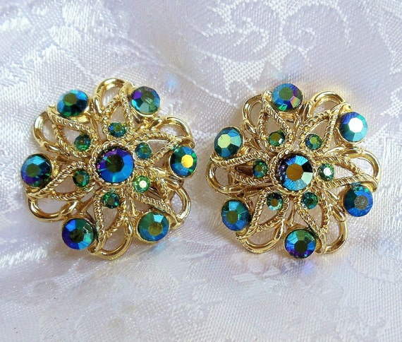 Silver Coloured Metal Leaves And Flower Bud With Pearl And Aurora Borealis Accents. Vintage 1950s Screw Back Earrings