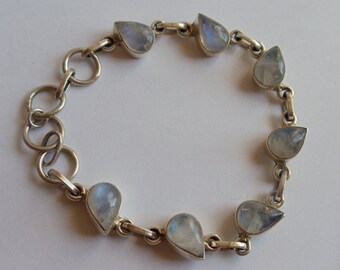 Vintage 925 Sterling Silver Opal Bracelet, Opal Precious Stones Sterling Bracelet, Mid Century Opal Natural Stones Link Bracelet, 1950s'