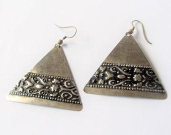 Vintage Ornate Triangle Earrings, Extra Large Floral Ornate Silver Tone Dangle Pierced Earrings, Geometric Earrings, Tribal Jewelry, 1970s'