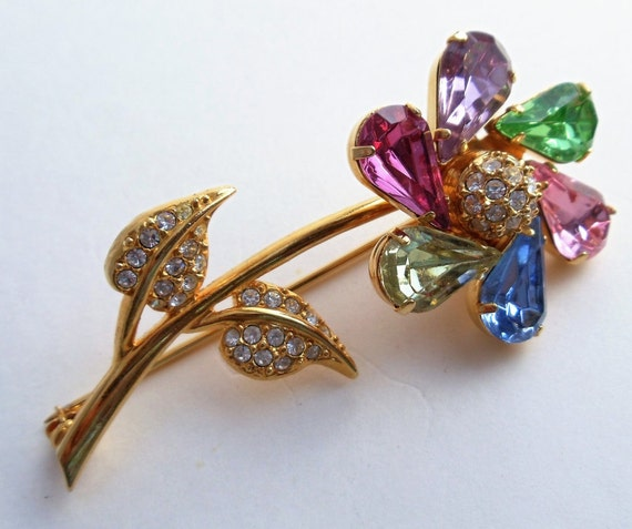 Vintage Joan Rivers Flower Brooch, Clear Rhineston