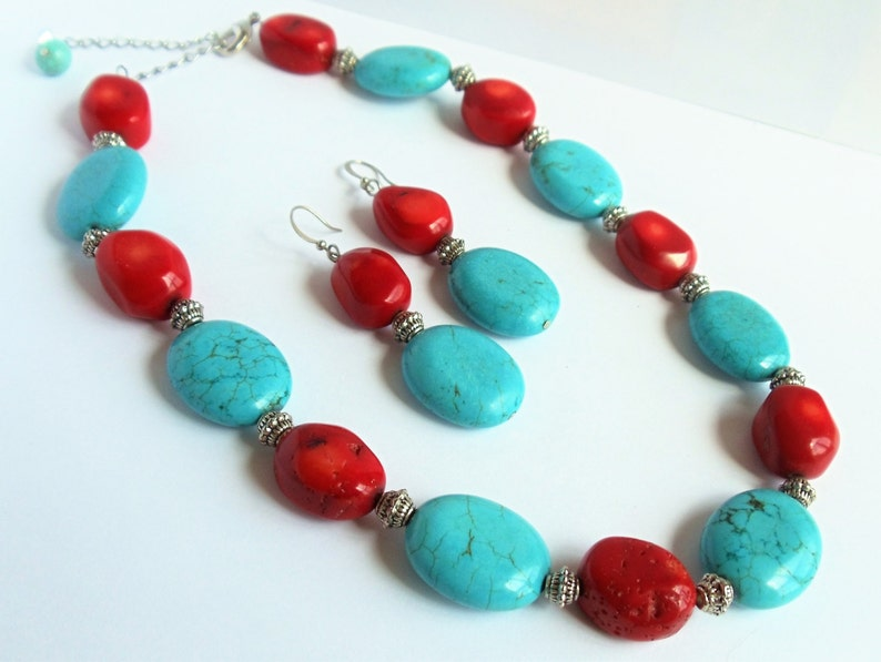 silver Turquoise and Red Coral Earrings choose clip on pierced