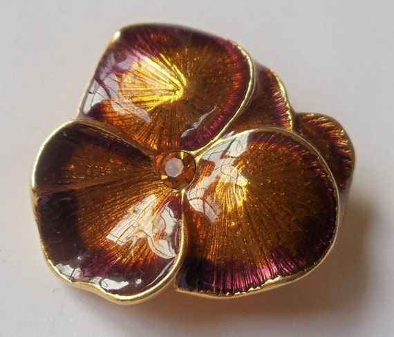 Vintage Joan Rivers Pansy Flower Brooch, Enamel &