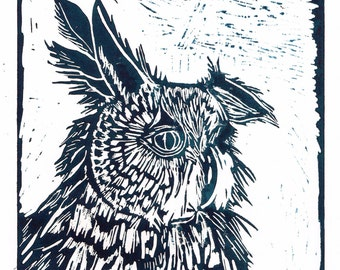 Owl Lino Print