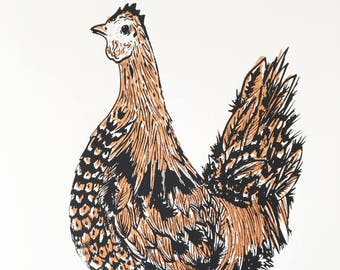 Black and Bronze Chicken - ORIGINAL SCREEN PRINT